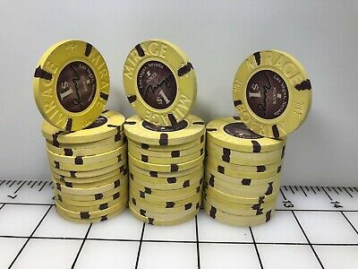 Rare Mirage $1 Yellow Poker set of 44 Las Vegas Casino Chips