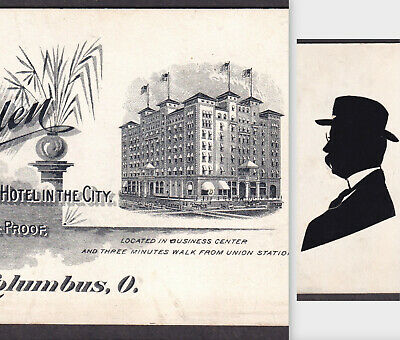 Chittenden Hotel Columbus OH Trolley Business Card ca 1900 Victorian Trade Card