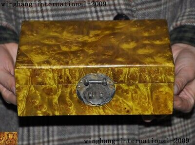"""8"""" Chinese palace Gold Phoebe wood hand carved statue Jewelry Box storage boxes"""