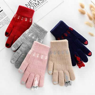 Winter Knitted Gloves Mittens Women Cute Cartoon Cats Touchable Screen Accessory