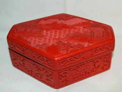 "Fine Antique Chinese Carved Cinnabar Lacquer  6"" Covered Box Excellent !"