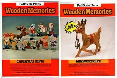 "WoodenMemories ~CHRISTMAS ELVES 15""-22""~ + WOODOLPH REINDEER~FULL SCALE PLANS"