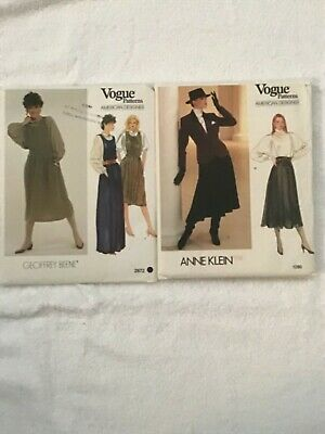 Vintage New 1980s Vogue Anne Klein/ Geoffrey Beene patterns Lot of 2