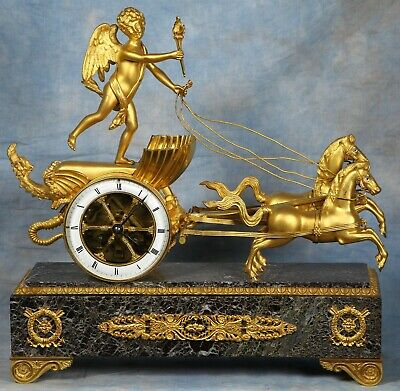 Stunning French Gilded Bronze Marble Chariot Clock 19th Century Superb Condition