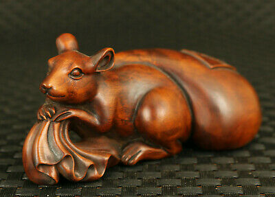 Asian old boxwood hand engrave rat purse statue noble table decoration