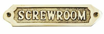"Vintage Handmade Solid Brass ""SCREW ROOM"" Door Sign Nautical Antique Home Decor"