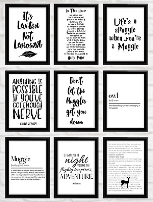 20 Harry Potter Quote Prints Poster Inspirational Gift Movie Film Home Decor