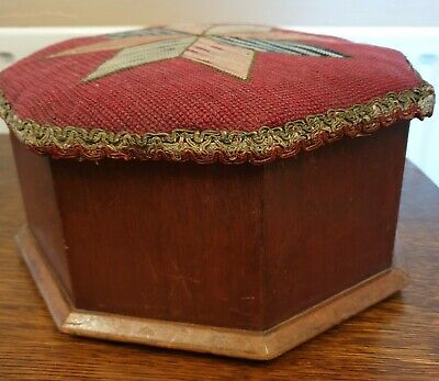 antique wood hexagonal FOOT STOOL