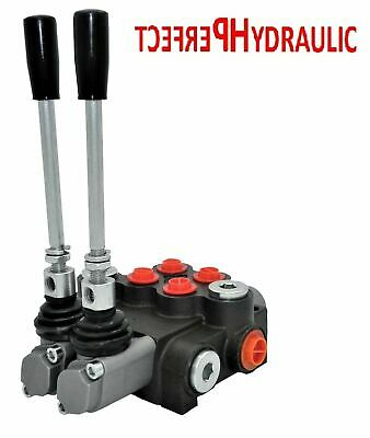 2 BANK HYDRAULIC MONOBLOCK DIRECTIONAL SPOOL VALVE 11 gpm 40 L 2x Double Acting