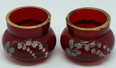 Cranberry Red Enamel Moser Art Glass Salt Dish Bowls Tooth Pick Holders Lily