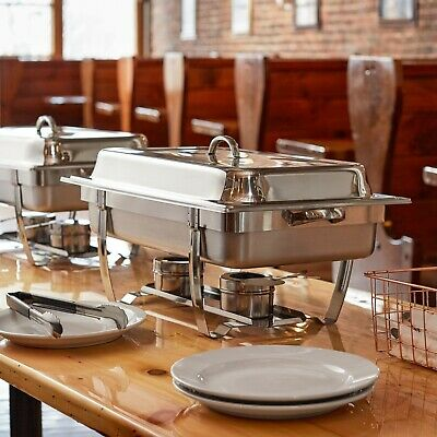Set of 5 - 8 Qt. Full Size Stainless Steel Stackable Catering Chafer w Handles