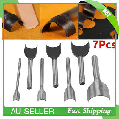 7pcs DIY Leather Carft Half -Round Punch Belt End Cutter For Leather Sewing AU