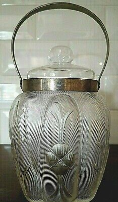 Antique Glass Biscuit Jar Etched Late 1800's Silver Plate Engraved WMF Pretty!