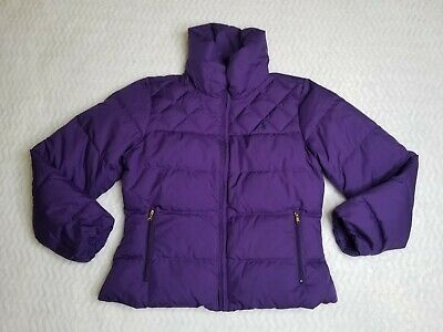 Polo Ralph Lauren Girls Large 12-14 Down Fill Puffer Jacket Youth Purple Quilted
