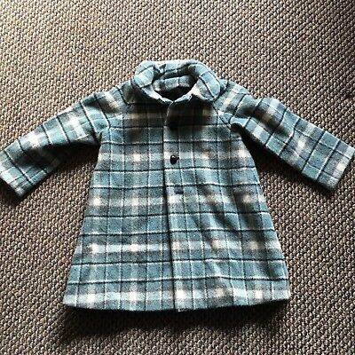 Vintage Childs Plaid Wool Coat Aqua Black Toddler