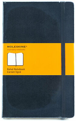 "Moleskine Ruled Notebook Black Hard Cover Large 13x21cm 5x8 1/4"" Acid Free"