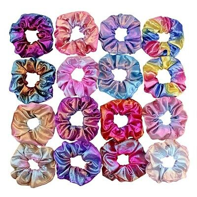 4-16Pcs Shiny Metallic Hair Scrunchies Ponytail Holder Elastic Hair Ties Bands