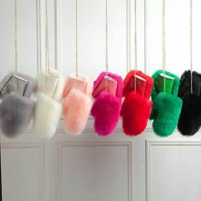 Winter Fur Gloves Mittens For Ladies Thick Warm Solid Patterned Hand Accessories