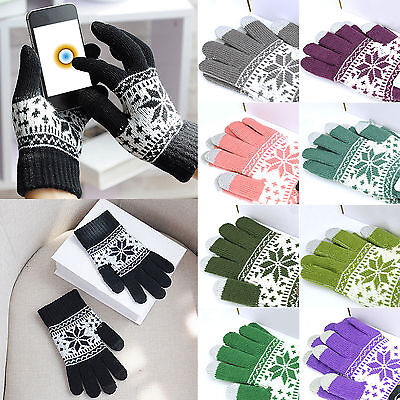 Unisex Christmas Stretch Knit Mittens Touch Screen Winter Soft Gloves Xmas Gifts