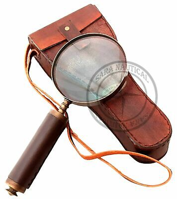 """9"""" Maritime Antique Brass Magnifying Glass Magnifier With Antique Leather Case"""