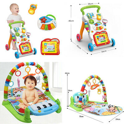 2 IN1 Baby Walker First Steps Toys Car/ Baby Fitness Music Gym Play Mat Newborn