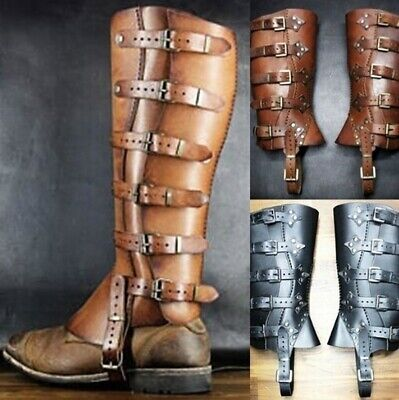 LARP Leather Gaiters Boot Cover Medieval Gaiters Armour Cosplay Accessories