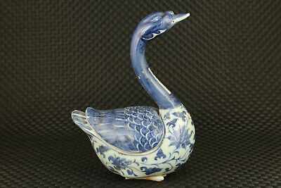 big chinese old blue and white porcelain hand painting swan statue