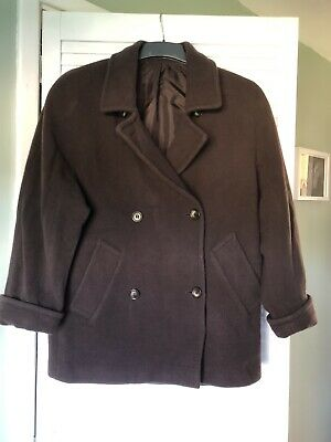 Marks And Spencer, M&S Gorgeous  Chocolate Brown Wool Winter Coat Size 10 Petite