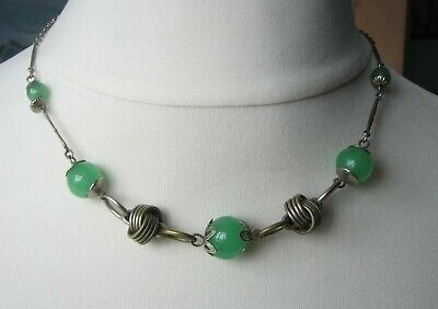Vintage Deco Bengel Style Green Glass Machine Age Necklace