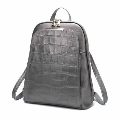 Real Genuine Cow Leather Black White Silver Gray Women Design Backpack