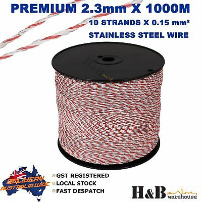 2.3mm X 1000M Electric Fence Rope Wire Poly Polywire 10 Strands SS Polyrope