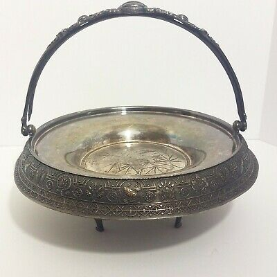 Barbour Bros. Co. Silver Quadruple Plate Basket Stand Early Bird Footed Tray VTG