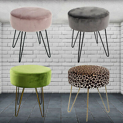Velvet Fabric Padded Foot Rest Round Footstool Cushion Seat Pouffe Metal Legs