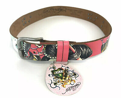 Ed Hardy Kids Belt by Christian Audigier Pink Size L LARGE Brand New Leather