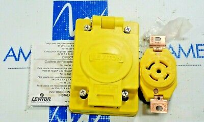 Leviton  67W81 Receptacle With Wetguard Ip66 Cover 20A 120/208V L21-20R New