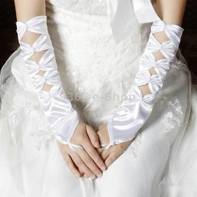 Beautiful long White Fingerless Pearl Wedding Bridal Glove -brand new -UK seller