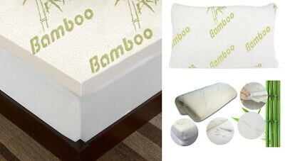 2.5CM BAMBOO Memory Foam Mattress Topper Thick Zipped Cover DOUBLE KING BUNK