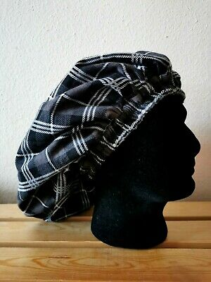 Handmade Brown, Black and White Checked Flannel Lined Everyday Lounge/Sleep Cap