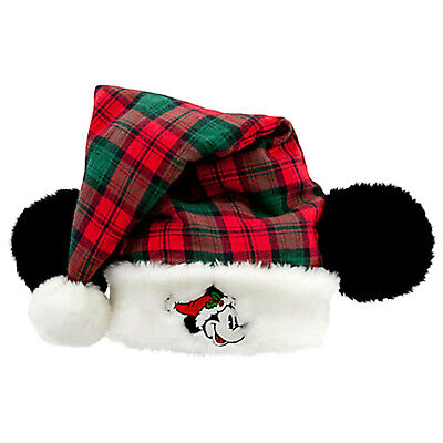 New Disney World Parks Mickey Mouse Ears Christmas Santa Hat Adult Plaid