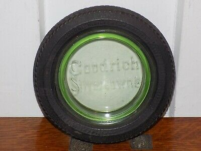 Vintage Goodrich Silvertowns Green Embossed Glass Tire Ashtray