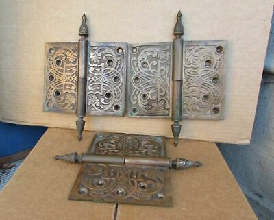 Vintage Antique Gothic Medieval BRASS 1800's set of 3 Door Hinges