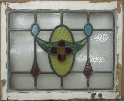 "MIDSIZE OLD ENGLISH LEADED STAINED GLASS WINDOW Stunning Floral Swag 24"" x 19.5"""