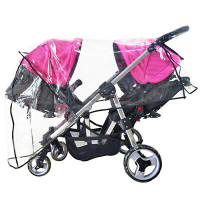 Weather Shield Double Stroller Rain Cover Universal Full Protection Rain Snow