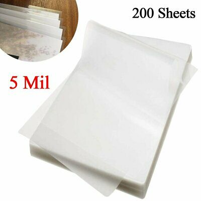 Laminating Pouches 5 Mil A4 Letter Size Thermal Laminator Sheets Film 200 Pack