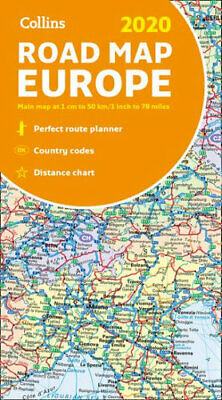 NEW 2020 Collins Map of Europe By Collins Maps Folded Sheet Map Free Shipping