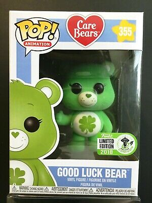 Funko Pop Animation 355 Good Luck Bear Flocked 2018 ECCC Exclusive Care Bears