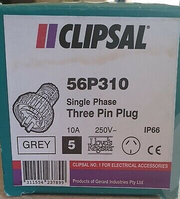 Clipsal 56 series Industrial plug QTY 5 per box - 10A 250V 3 Pin 56P310