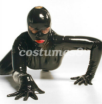 100% Latex Rubber Bodysuit Kostüm Black Suits With Mask Ganzanzug Catsuit  S-XXL