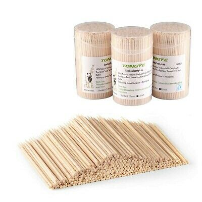 Bamboo Toothpicks 3.5 Inch, Wooden Round/Long/Large Toothpick - Wood Ornate K...