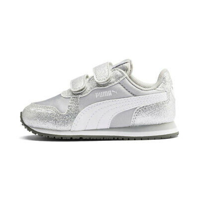 Puma Cabana Racer Glitz V Ps Inf Trainers Shoes Baby Girl Silver 370986 01